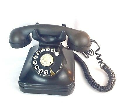 Antique Black Porcelain Number Dial Telephone w/ Foreign Country Paper Insert