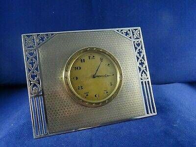 Art Deco Solid Silver Swiss Movement 8 Day Desk Clock by Levi & Salaman,Bir 1928
