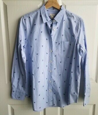 c4fe0c18 NWT J Crew Womens Blue Button Down Anchor End On End Shirt Top Size Small  Pocket