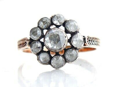 Antique Russian Ring  1.58 ct Diamonds 12K Rose Gold Silver US 8.75/ 3.3gr