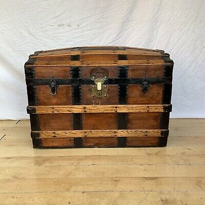 Vintage Antique Steamer Sea Trunk Bound Chest Victorian Travel Box