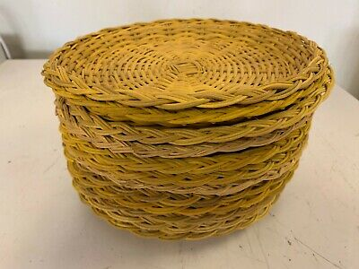 Vintage Wicker Rattan Woven Paper Plate Holders Lot Of 12