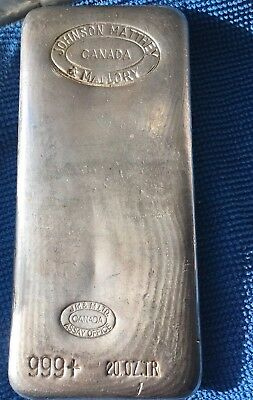 RARE Johnson Matthey & Mallory 20oz POURED bar