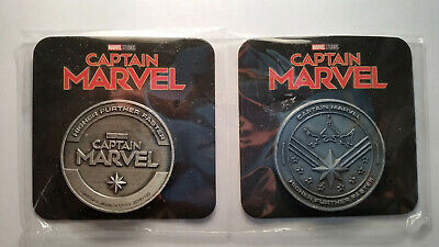 2 (DUE) Monete CAPTAIN MARVEL Coin SILVER rara moneta Avengers Endgame Capitan