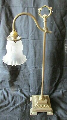 Antique French Heavy Gilt Brass Adjustable Height Office Bureau Desk Lamp c1880s