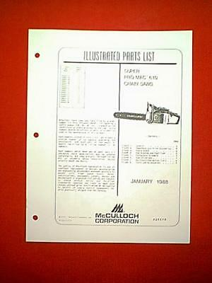 MCCULLOCH SUPER PRO Mac 610 Chain Saw Parts Manual