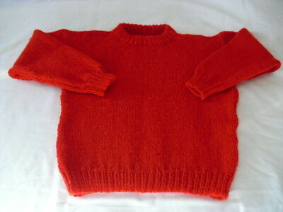 Child's Hand-knitted Round-neck Sweater in Red to fit 7 - 8 years