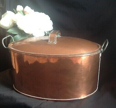 Antique French Copper Large Oval Daubiere / Casserole/Stew/Braising Pot With Lid