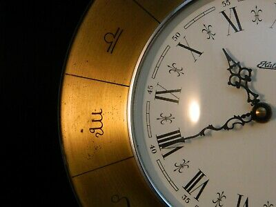 Haller Wall Clock Zodiac Greek Brass  made in germany Astrology Vintage German