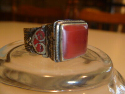 Beautiful Rare Medieval Renaissance Red Stone Ornate Silver Metal Ring 11