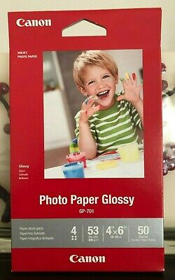 """NEW! Canon GP-701 4* Inkjet Photo Paper Glossy 4""""x6"""" - 50 Sheets/Pack"""