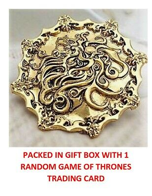Game Of Thrones Gold Lannister Lion Collectible Shield Badge Pin Gift Box Rare