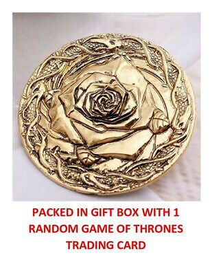 Game Of Thrones Gold Tyrell House Crest Rose Collectible Badge Pin Gift Box Rare