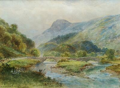 H. Max Krause 1861-1931 Signed Original Antique Watercolour Painting, Borrowdale