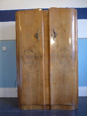 Vintage Wooden Wardrobe - With 2 large drawers and 2 small glass fronted drawers
