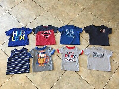 Lot Of 8 Baby Toddler Boy Short Sleeve Graphic T-shirts 18 Months Tees