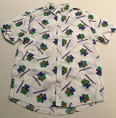 55bd142e6 Nintendo 64 Button Up All Over Print Polo Shirt Size Large Video Games  Gaming