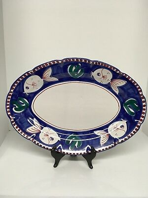 Solimene Vietri Large Oval Fish Pesce Platter Hand Painted Italy