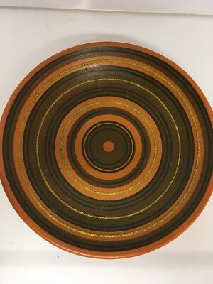 Mid Century Alvino Bagni Raymor Italy Striped Pottery Large Center Console Bowl