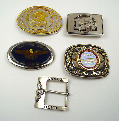 5 Belt Buckles Eagles FFA America Hunting Club Independence Iowa Class of 61 Lot