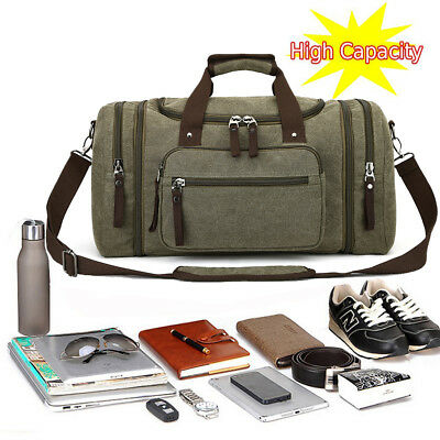 Large Mens Vintage Duffle Luggage Weekend Gym Overnight Travel Bag Canvas Bags