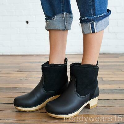 146bcac34da NO.6 SHEARLING CLOG Ankle Boots Mid Heel Pull On Nubuck Leather Navy ...