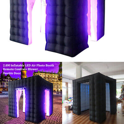 2 Doors Inflatable LED Air Pump Photo Booth Tent Wedding Thick Black 9.2FT + RC