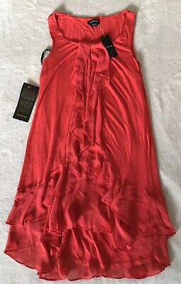 NWT Bebe Women's Red Coral Sleeveless Dress Two Layers Stretch