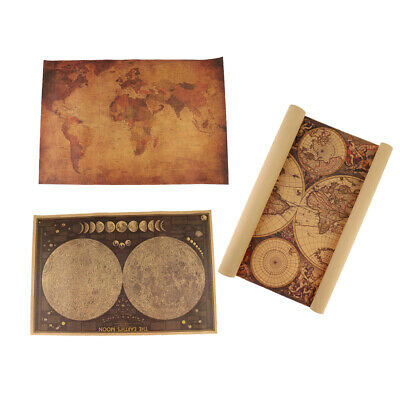 3Pcs Old Retro World Map Vintage Antique Style Retro Paper Poster Wall Chart