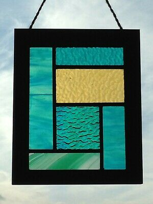 Stained Glass Antique Vintage Lead Artwork In Mondrian Style Stonehenge Fields