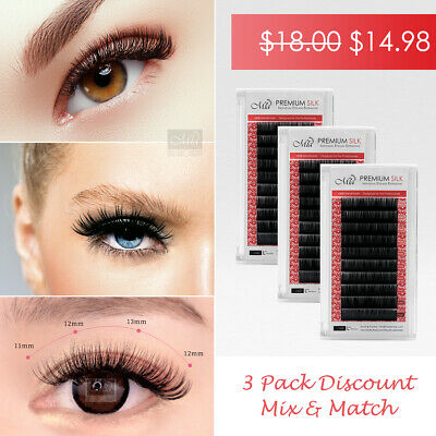 [3 Pack] Mia Synthetic Silk Lash Individual Eyelash Extension Semi Permanent