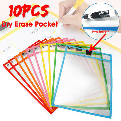 10 X Resuable Dry Erase Pocket Sleeves Students Kids Wipe Learning Paper