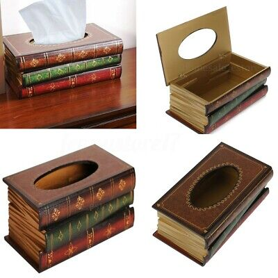 Tissue Box Cover Hand Crafted Antique Book Wooden Dispenser Paper Case
