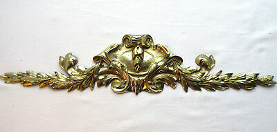 French pediment Napoleon III gilded bronze carved acanthus, bay leaves signed AM