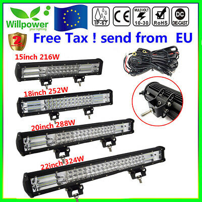 12/15/18/20/22inch Tri Row 7D LED Work Light Bar for Off road Car SUV Truck Jeep