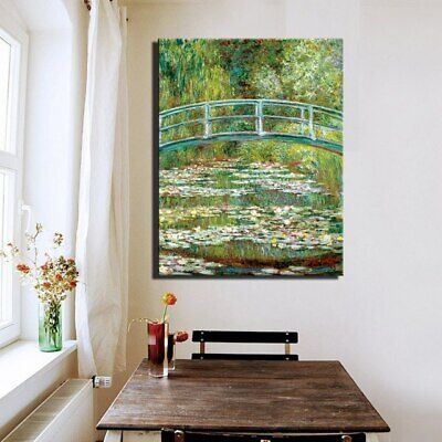 Water Lilly Claude Monet Canvas Reproduction Painting Print Wall Art (UNFRAMED)