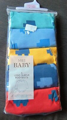 M&S Pack of 5 100%Cotton L/Sleeved Vehicles Bodysuits Tiny Baby 48cm Multi BNWT