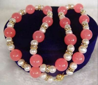 Natural Genuine 10mm Pink Jade 7-8mm White Pearl Gemstone BeadS Necklace 18''
