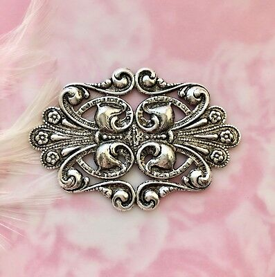 ANTIQUE SILVER Cartouche Scroll Flower Stamping ~ Oxidized Finding (C-807)