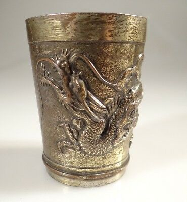 Antique Chinese Cast Metal Three Clawed  Dragon Small Cup