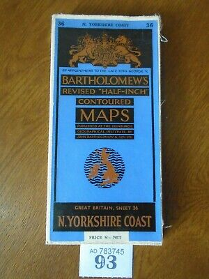 No.36 NORTH YORKSHIRE COAST - Vintage Bartholomews Map - Half Inch on CLOTH