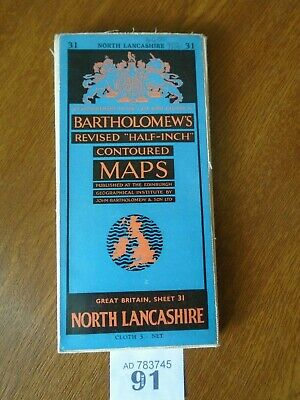 No.31 NORTH LANCASHIRE - Vintage Bartholomews Map - Half Inch on CLOTH