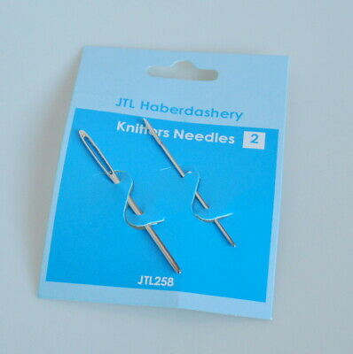Knitters Sewing / Darning Needles - Pack of 2 - Large Eye Needles