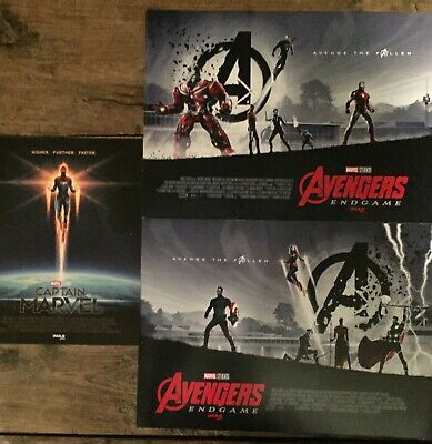 AVENGERS ENDGAME / CAPTAIN MARVEL SET (2019) EXCLUSIVE IMAX CARDSTOCK Posters