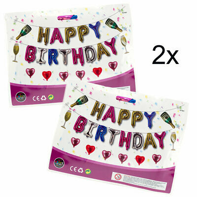 Set of Two Foil Balloon Happy Birthday