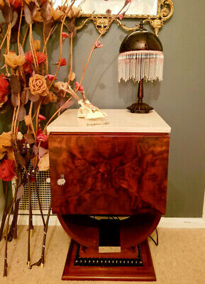 1930's French Art Deco Cabinet with Marble Top and Chrome Hardware - With Exotic