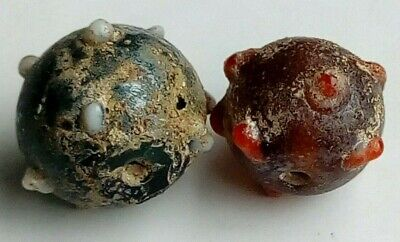 Lot Of 2 Ancient Byzantine Bead Look Top