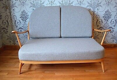 Vintage Ercol: Windsor 203/2 Compact Sofa, Two Seater With Soft Grey Cushions