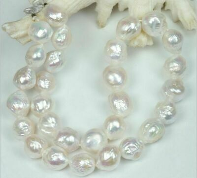 13-14mm white baroque south sea pearl necklace 18-inch 14k Chain Jewelry