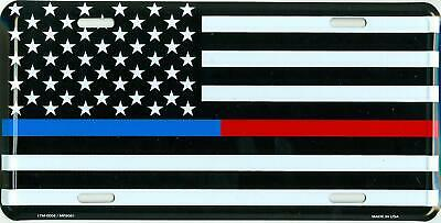139416cbd009d Thin Blue Red Line American USA Flag License Plate Tag Police Firefighter  EMS